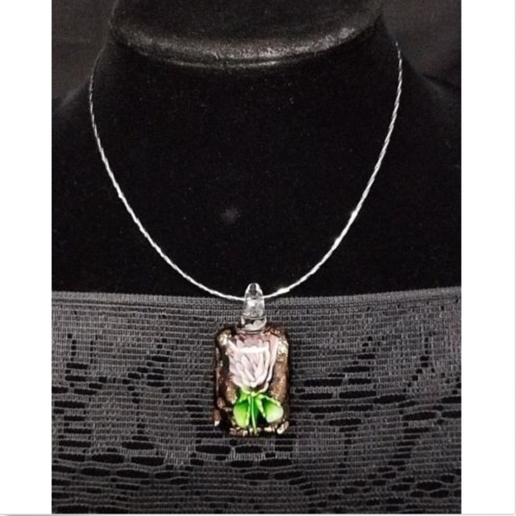 Jewelry - sterling silver necklace with glass flower pendant